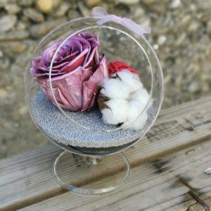 Globe en verre Rose stabilisée rose électrique