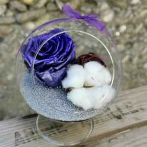 Globe en verre Rose stabilisée violet électrique.
