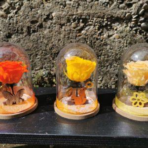 Roses stabilisées et fleurs séchées