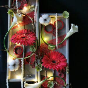 Double tableau intemporel vertical tons Rouge / Gris et sa guirlande lumineuse