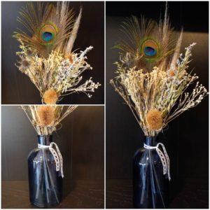 Bouquet de fleurs séchées bleu et blanc