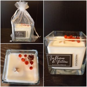 Bougie 50h Parfum La Pradisiaque , incrustée de fleurs séchées (Copie)