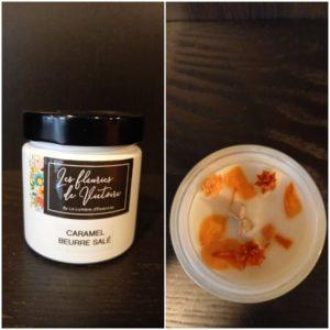Bougie 40h Parfum Caramel Beurre salé, incrustée de fleurs séchées