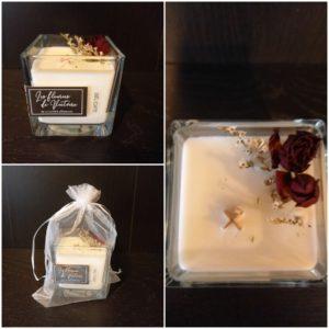 Bougie 50h Parfum La Délicate , incrustée de fleurs séchées